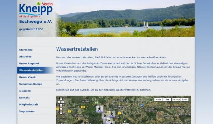 Kneipp-Verein Eschwege: Die Wassertretstellen auf der neuen Website kneippverein-eschwege.de